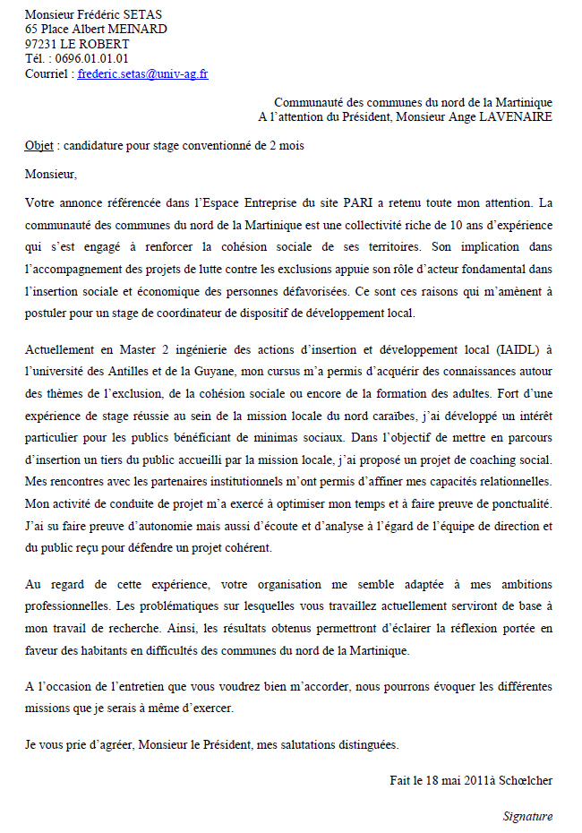 la lettre de motivation exemple pdf Exemple de lettre de motivation | Pari   Plateforme d  la lettre de motivation exemple pdf